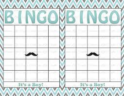 blank baby shower bingo cards mustache theme printable