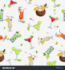 cosmopolitan clipart seamless vector pattern different cocktails summer stock vector
