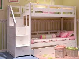 Bunk Bed With Storage Stairs Luxury Solid Wood White Bunk Bed With Staircase Room