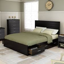 queen size black wooden low profile bed frame with side drawers of