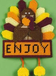 plastic canvas autumn enjoy turkey decoration
