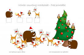 winter forest animals counting worksheet free printable