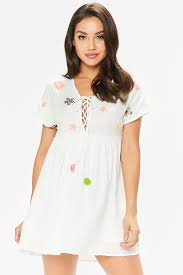 henny white floral embroidered dress