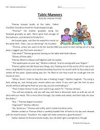 table manners reading comprehension pinterest reading