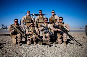 Marines Holding Flag U S Marines Scout Snipers With With Echo Company 2nd Battalion