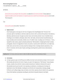 merchandising rights contract template