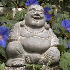 handmade volcanic ash happy buddha statue washed indonesia