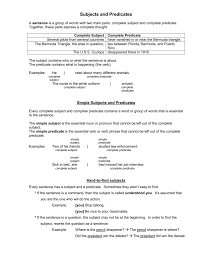 subject and predicate sentence types