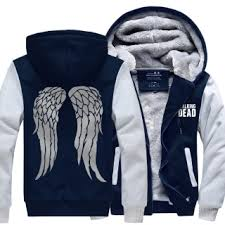 the walking dead thick fleece hoodie for winter daryl dixon angel
