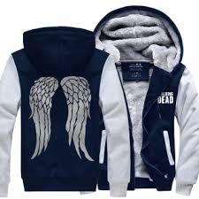 the walking dead thick fleece hoodie for winter daryl dixon angel
