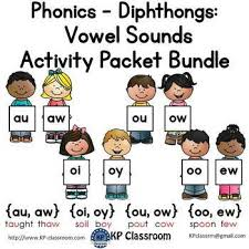 diphthongs au aw oi oy ou ow oo ew vowel sounds activity packet bundle