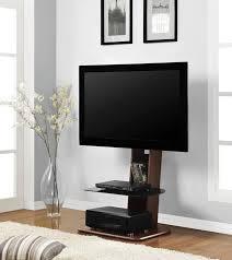 minimalist brown walnut wood flat screen tv stand with black