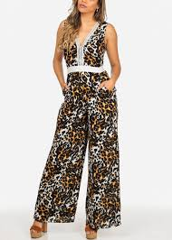 cheetah jumpsuit cheetah print two tone v neck sleeveless wide leg jumpsuit