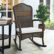 wicker patio furniture rocking chair mocha with beige cushion