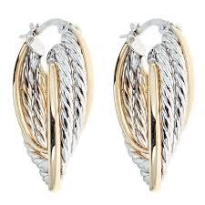 two earrings 14kt two tone gold braided earrings