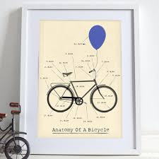 Cycling Home Decor Anatomy Of A Bicycle Bike Bikes Cycling Poster Wall Print
