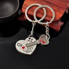 one pair couple key heart i love you keychain keyring valentines