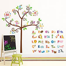 Wall Stickers For Kids Rooms by Amazon Com Decowall Da 1503 Animal Alphabet Abc And Owl Numbers