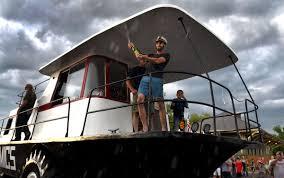 amphibious rv amphibious houseboat in aurora makes international tv local news