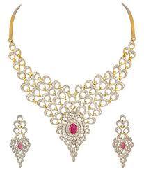 diamond necklace images Youbella golden american diamond necklace set with earrings buy jpg