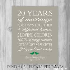 20 year wedding anniversary gifts 20 year anniversary gift 20th anniversary print personalized