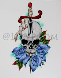 skull and rose tattoo design by liz venom by lizvenom on deviantart