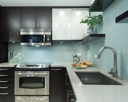 Red Kitchen Backsplash Tiles by Sky Blue Glass Subway Tile Backsplash In Modern White Kitchen With