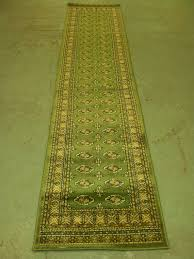interior fresh green hallway carpet runner with ethnic ornaments