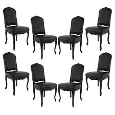 Black Lacquer Dining Room Table Set Of 8 Louis Xv Black Lacquered Leather Dining Chairs For Sale
