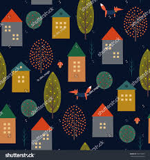 cute autumn backgrounds cute houses fox autumn trees seamless stock vector 632770229