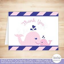 nautical thank you cards pink whale thank you card template whale folded thank you card