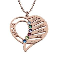 heart necklace wholesale images Wholesale mom heart necklace with birthstones rose gold color jpg