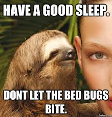 Bed Bug Meme - have a good sleep dont let the bed bugs bite rape sloth