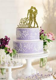 gold wedding cake toppers custom wedding cake topper and groom silhouette