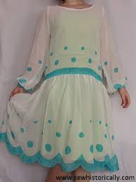 1920s mint green hand painted polka dot dress sew historically