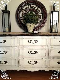 white dresser hutch distressed old white chalk and clear soft wax