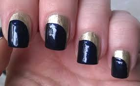 life world women gold and dark blue nail art for 2015 without tools