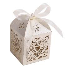 wedding party favor boxes heart laser cut gift boxes with ribbon wedding party favor