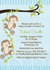 monkey boy baby shower monkey boys baby shower invitations candles and favors