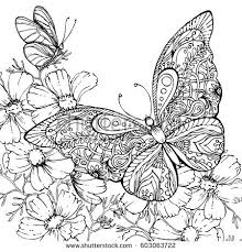 ink doodle butterfly flowers stock vector 603063722