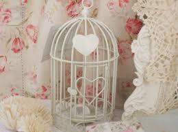 shabby chic cream metal heart bird cage t light holder