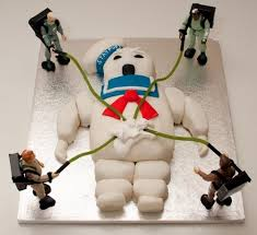 stay puft marshmallow ghostbusters cake via ghostbusters