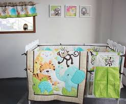 Baby Nursery Bedding Sets Neutral 8 Pieces Baby Bedding Set 3d Elephants Monkeys Tigers Baby Crib