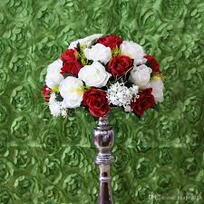2017 white and dark red wedding road lead artificial flowers