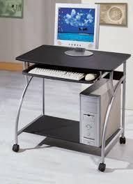 Small Computer Desk For Kitchen Amazon Com Small Computer Desk Cart On Wheels Black Finish