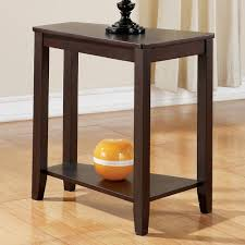 Table With Shelf Underneath by Furniture Brown Wedge End Table With High Shelf Underneath
