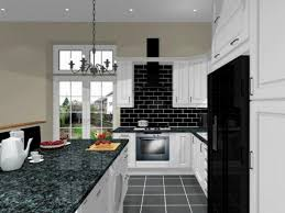Subway Tile Kitchen by Black Side By Side Refrigerator Subway Tile Backsplash Granite