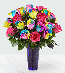 roses bouquet time to celebrate rainbow bouquet vase included