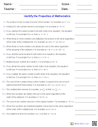 properties worksheets properties of mathematics worksheets