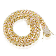 cuban chain link bracelet images 10k yellow gold 83ct diamond 20mm cuban link chain 32in shyne jpg